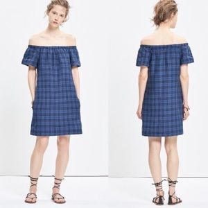 Madewell Plaid Off-the-Shoulder linen cotton dress